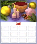 Large format calendar for 2019 with candles and balloons, congratulations on the New Year. 3D rendering