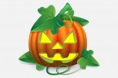 Scary Jack Lantern Halloween pumpkin with a burning candle inside, 3d vector isolated
