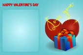 Valentines day greeting card with inscription, heart and gift on a blue background. Vector illustration