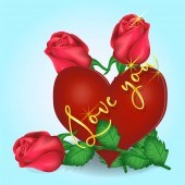 Valentines day greeting card heart, roses, inscription on a blue background. Vector graphics