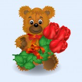 Valentines day greeting card bear, roses. Vector graphics