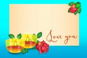 Valentines day greeting card roses, candles, gift banner for lettering