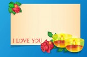 Valentines day greeting card roses, candles, banner for lettering