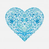 Valentines day greeting card for congratulations blue heart on a light background. Vector illustration