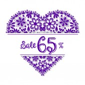 Valentine's Day tracery heart 65 percent discount Vector illustration