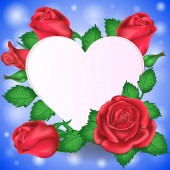 Valentines day congratulations heart and flowers. Vector illustration