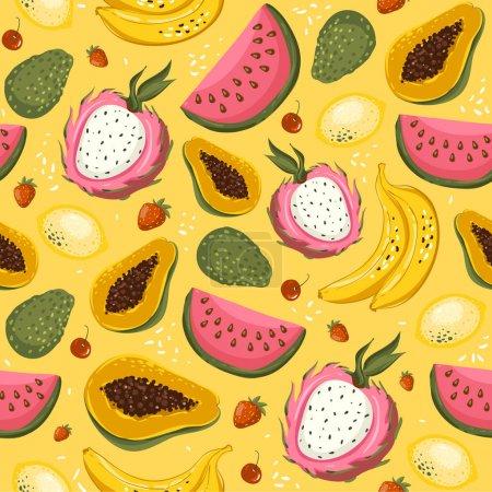 Illustration for Hand drawn vector cartoon summer fruits. Seamless pattern background with papaya, banana, mango, lime, avocado, strawberry, cherry. Vector EPS10. - Royalty Free Image