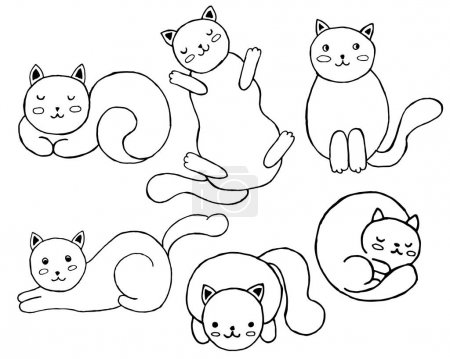Illustration for Set of cute cats. Hand drawn cartoon vector illustration. Sketch for decoration, coloring page, t-shirt, print - Royalty Free Image