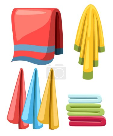 Flat towels set. Cartoon illustration collection. Cloth towels for bath and shower. Colorful fabric towels. Vector illustration isolated on white background.