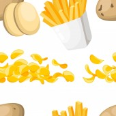 Seamless pattern Potato products French fries and chips Potatoes fast food Flat vector illustration on white background