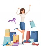 Colorful shopping paper bags Happy women on white shirt and blue skirt Cartoon character design Full shopping bags discount concept Bags for clothes Flat vector illustration on white background