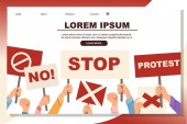 Hands holding protest sign stop no protest placard template flat vector illustration on white background web site page design