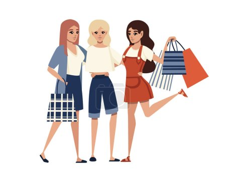 Happy women holding the many various shopping bags...