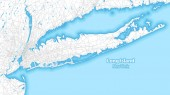 Two-toned map of Long island New York with the largest highways roads and surrounding islands and islets