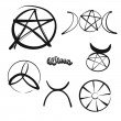 Set of hand-drawn Wicca symbols. Various religious...