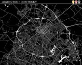 Simple map of Lexington Kentucky USA Black and white version for clean backgrounds and prints This map of Lexington contains three markers who are grouped and can be moved separetly in vector version