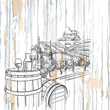 Illustration pour Vin et vignoble sur fond bois. Illustration vectorielle dessinée à la main . - image libre de droit
