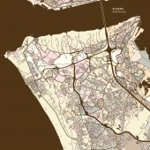 Map of Almada Portugal art map print template