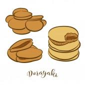 Colored sketches of Dorayaki bread