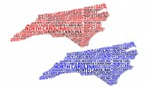Sketch North Carolina (United States of America) letter text map North Carolina map - in the shape of the continent Map North Carolina - red and blue vector illustration