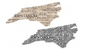 Sketch North Carolina (United States of America) letter text map North Carolina map - in the shape of the continent Map North Carolina - brown and black vector illustration