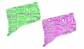 Sketch Connecticut (United States of America The Constitution State) letter text map Connecticut map - in the shape of the continent Map Connecticut - green and purple vector illustration