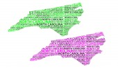 Sketch North Carolina (United States of America) letter text map North Carolina map - in the shape of the continent Map North Carolina - green and purple vector illustration