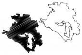 Krasnodar Krai (Russia Subjects of the Russian Federation Krais of Russia) map vector illustration scribble sketch Kuban map
