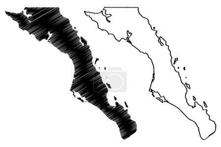 Illustration pour Baja California Sur (États-Unis du Mexique, Mexique, République fédérale) carte vectorielle illustration, croquis croquis Estado Libre y Soberano de Baja California Sur (El Territorio Sur de Baja California) carte - image libre de droit