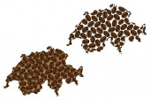 Switzerland -  map of coffee bean