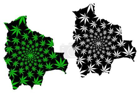 Illustration pour Bolivie - carte est conçu feuille de cannabis vert et noir, État plurinational de la Bolivie carte faite de marijuana (marihuana, THC) feuillage , - image libre de droit