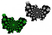 Bourgogne-Franche-Comte (France administrative region BFC) map is designed cannabis leaf green and black Bourgogne-Franche-Comte map made of marijuana (marihuanaTHC) foliage