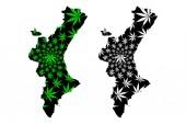 Valencian Community (Kingdom of Spain Autonomous community) map is designed cannabis leaf green and black Valencian Country map made of marijuana (marihuanaTHC) foliage