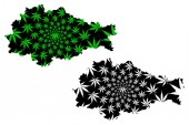 Kursk Oblast (Russia Subjects of the Russian Federation Oblasts of Russia) map is designed cannabis leaf green and black Kursk Oblast map made of marijuana (marihuanaTHC) foliag