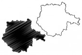 South Bohemian Region (Bohemian lands Czechia Regions of the Czech Republic) map vector illustration scribble sketch South Bohemian map