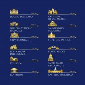 Infographic of Italy symbols landmarks in gold color Vector illustration Rome Venice Milan Italy