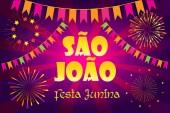 Brazilian Traditional Celebration Festa Junina of Sao Joao Summer Festival St John of Porto Portuguese Brazilian text Carnival masquerade banner confetti flags garland festive decoration Portugal Traditional music dances fireworks game 2018