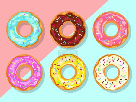 Illustration for Donuts with sprinkles pattern isolated on pink background - Royalty Free Image