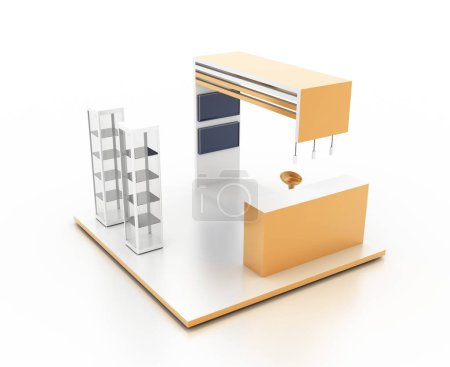 Ausstellungsstand auf weißem, originalem 3D-Rendering und Modellen