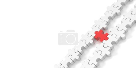 Foto de Conceptos de fondo, trabajo en equipo y estrategia de Jigsaw, render 3d original - Imagen libre de derechos