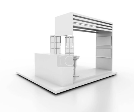 Photo for Exhibition stand on white, original 3d rendering and models - Royalty Free Image