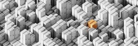 Photo pour Boîtes d'expédition infinies, concept de transport et de logistique, illustration de rendu 3D originale - image libre de droit
