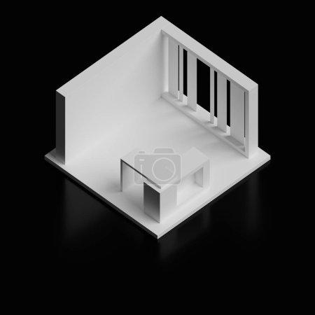 Photo pour Modèle de kiosque commercial original, rendu 3d sur fond noir - image libre de droit
