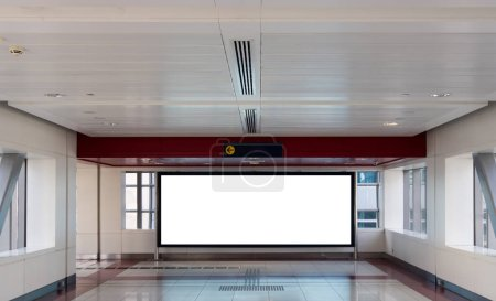 Empty interior with empty white billboard