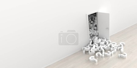 white question marks falling out from opened door, 3d rendering illustration