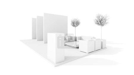 Photo pour Kiosque commercial blanc 3d modèle, présentation et promotion - image libre de droit