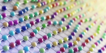 colorful 3d round atoms background, science and chemistry concepts