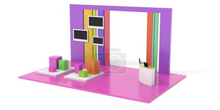 Photo for Pink 3D Exhibition stand on white, promotion - Royalty Free Image