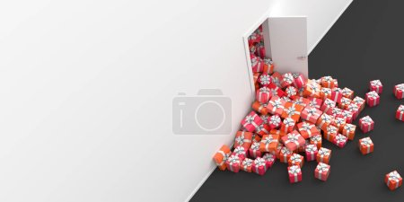 small gift boxes with bows getting out of door, original 3d rendering