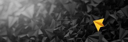 Photo pour Avions en papier origami 3D noir et jaune - image libre de droit